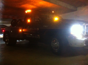 towing in a very low clearance underground parking with low visibility
